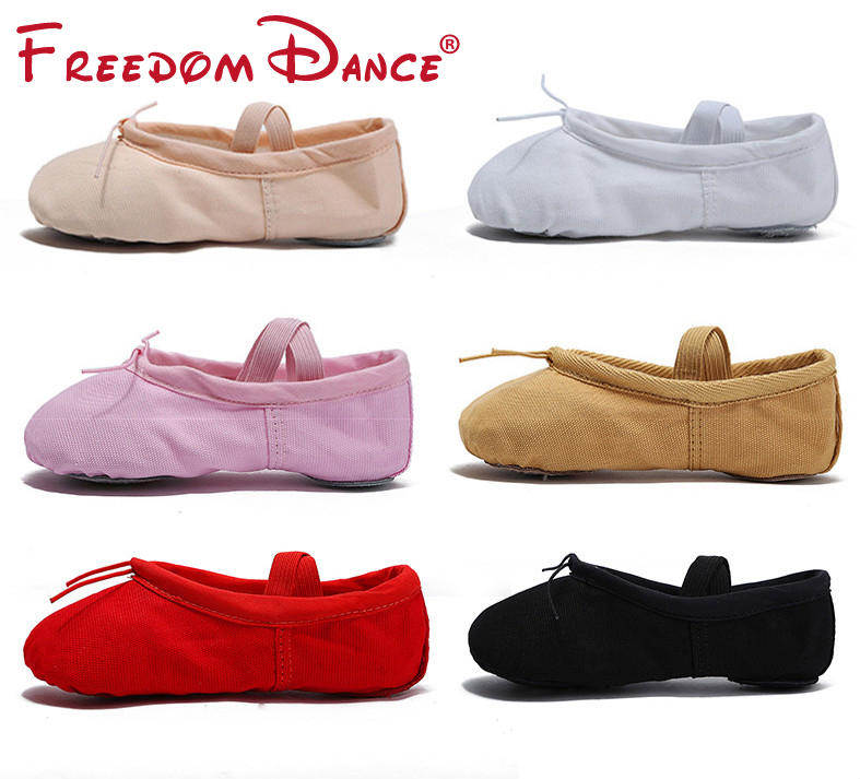 2018 Quality Girls Kids Canvas Leather Soft Ballet Dance Shoe Split Soles Children Gym Yoga Exercise Slippers Dancesport Shoes