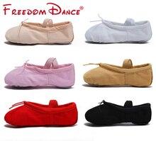 2019 Quality Girls Kids Canvas Leather Soft Ballet Dance Shoe Split Soles Children Gym Yoga Exercise Slippers Dancesport Shoes