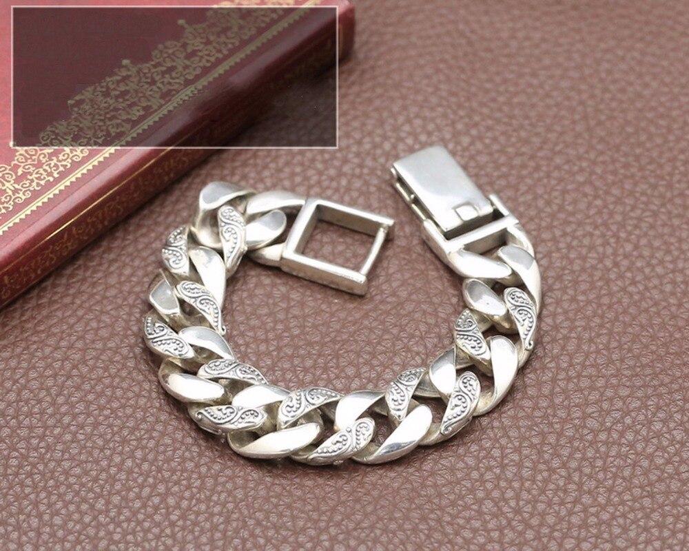 Totem véritable 925 argent sterling Bracelets Punk Rock Vintage lourd en argent Sterling Bracelet hommes de luxe mâle Biker bijoux S112