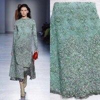 Beautifical нигерийские кружевные ткани последний стиль зеленая сетка кружева с бисером вышивка французское кружево с блестками Ткань 5 ярдов