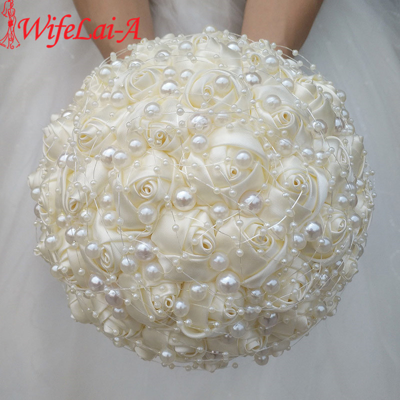WifeLai-A New Ivory Cream Pearls Brooch Wedding Bouquets Buque De Noiva Bridal Wedding Bouquets Festival Flowers W3018-17