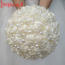 WifeLai A New Ivory Cream Pearls Brooch Wedding Bouquets buque de noiva Bridal Wedding Bouquets Festival Flowers W3018 17