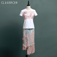 2019 New Summer Fashion Women's Sets 3D Lace Stitching Short Sleeve Cotton Tshirts + Hole Denim Skirts Set Pink Outfit