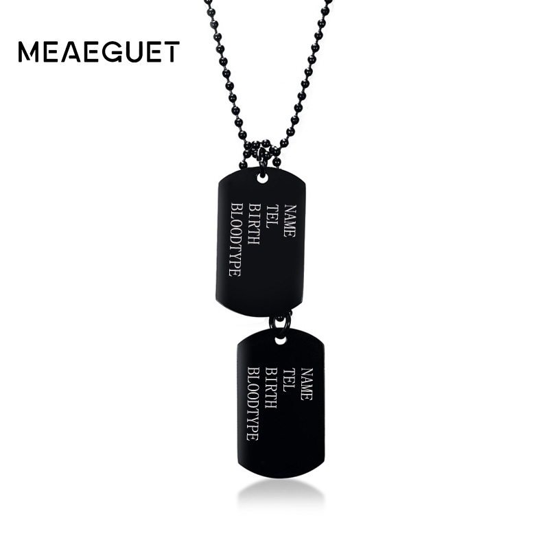Personalized Men Dog Tag Necklace Stainless Steel Soldier Amy ID Pendant Male Necklace Men Jewelry Free EngravingPersonalized Men Dog Tag Necklace Stainless Steel Soldier Amy ID Pendant Male Necklace Men Jewelry Free Engraving