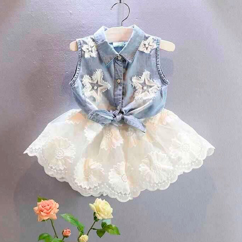 Ladies clothes units summer time youngsters denim tops+lace gown wedding ceremony garments for child women youngsters trend tracksuits women outfits Clothes Units, Low cost Clothes Units, Ladies clothes units...