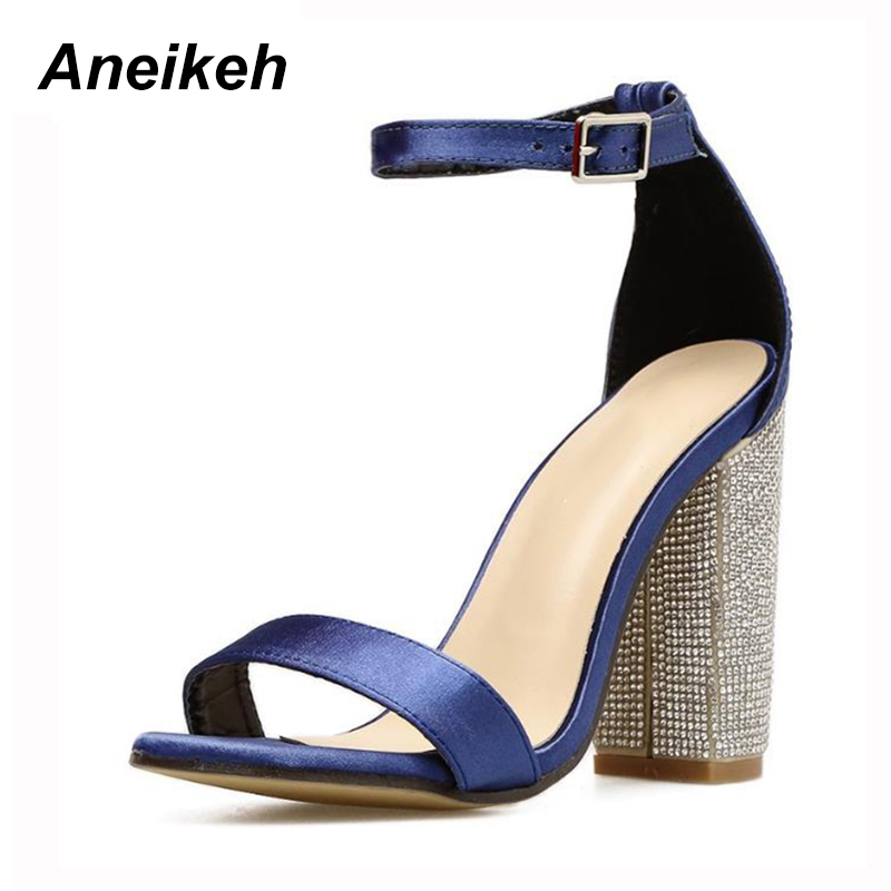 8c076d5f3c3 Aliexpress.com   Buy Aneikeh Crystal Embellished High Heel Sandals Cut out  Peep Toe Ankle Strap Dress Shoes For Women Back Buckle Strap Cage Shoes from  ...