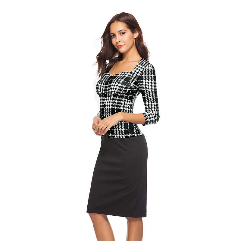 f83301fea2 ... Womens Elegant plaid Wear To Work Office Business Party Casual Summer  Bodycon Slim Fitted Pencil Dress ...