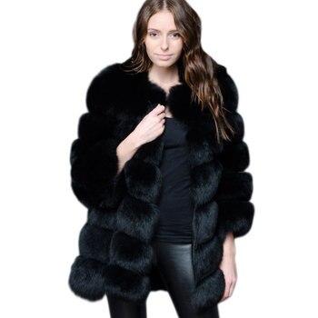 ZADORIN-abrigo largo de lujo de piel sintética para mujer, de invierno abrigo...