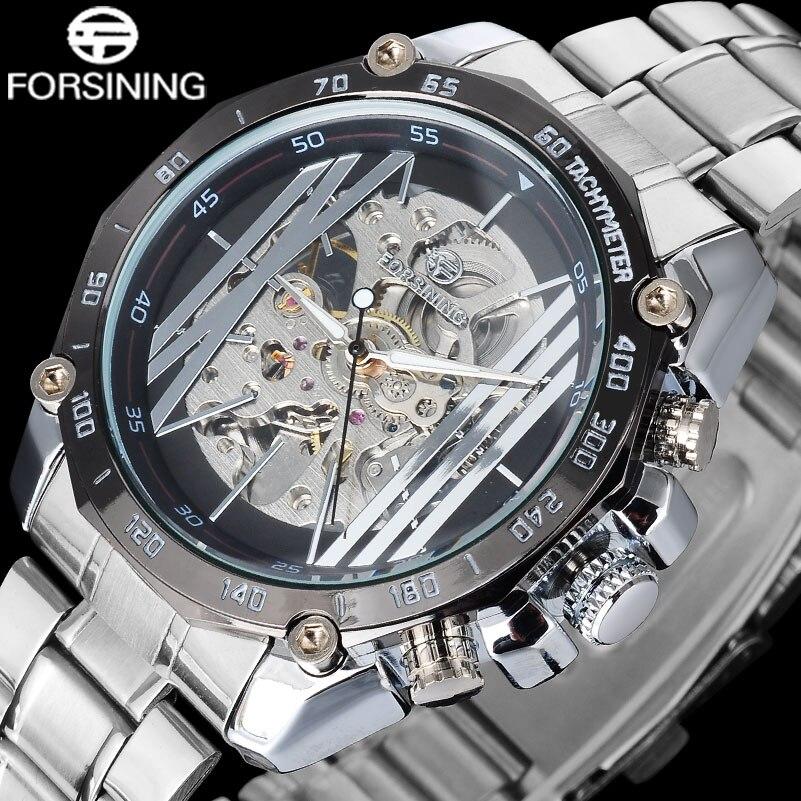 2017 Forsining Luxus Marke Männer Uhren Beliebte Business Armbanduhr Auto Mechanische Skelett Leuchtende Punkt Relogio Masculino