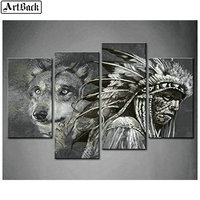 4 spells Indian wolf diamond painting lion full square diamond embroidery 5d mosaic sticker animal four styles