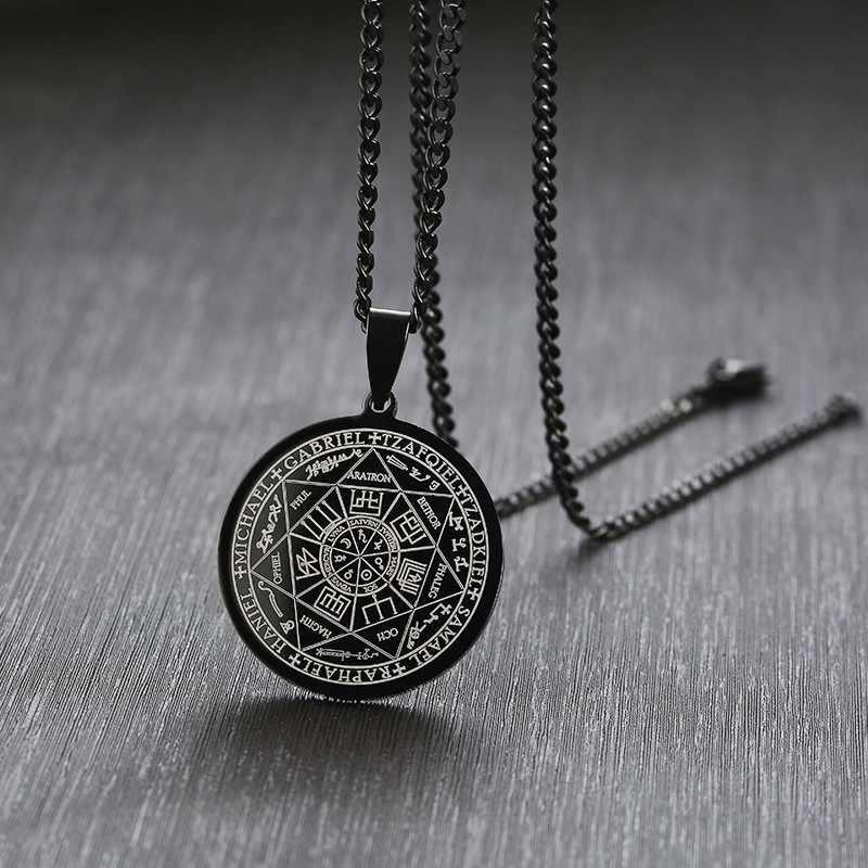 Siedem archaniołów pieczęć talizman anioł biżuteria magiczny wisiorek okultystyczny naszyjnik Gabriel Zadkiel Samael Raphael stal nierdzewna