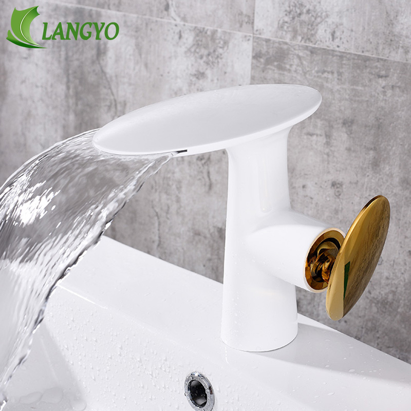 Brass waterfall basin faucet White golden Bathroom hand washing basin faucet mixer Hot and cold water basin faucet tap everlast свитер