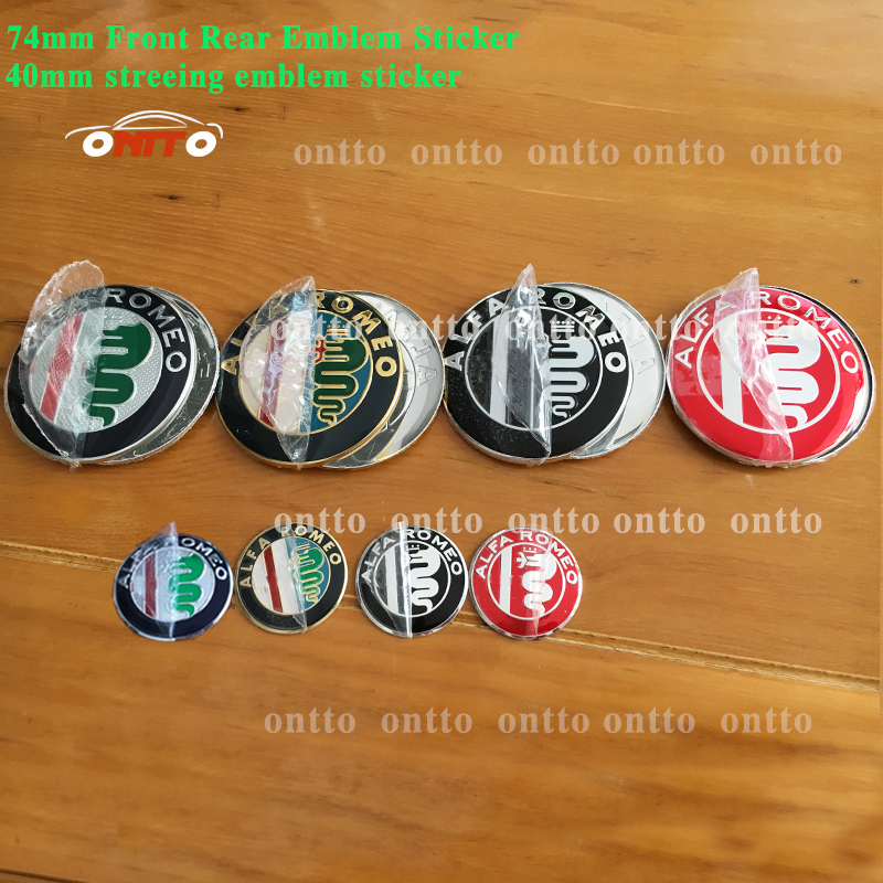 3pcs ALFA ROMEO Car Badge Stickers 74mm Front Hood Rear Emblem 40mm Car Steering Wheel Sticker For Mito 156 159 166 Giulietta