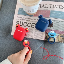 Cartoon Sesame Street 3D Doll lifting rope Wireless Bluetooth Earphone Couple Case For Apple AirPods Silicone Charging