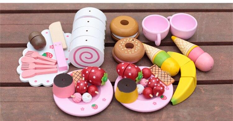 Juguetes para bebés, pastel de imitación de fresa/juego de té de la tarde, juego de corte, juego de cocina, alimentos, juguetes de madera, regalo de cumpleaños para niños - 3