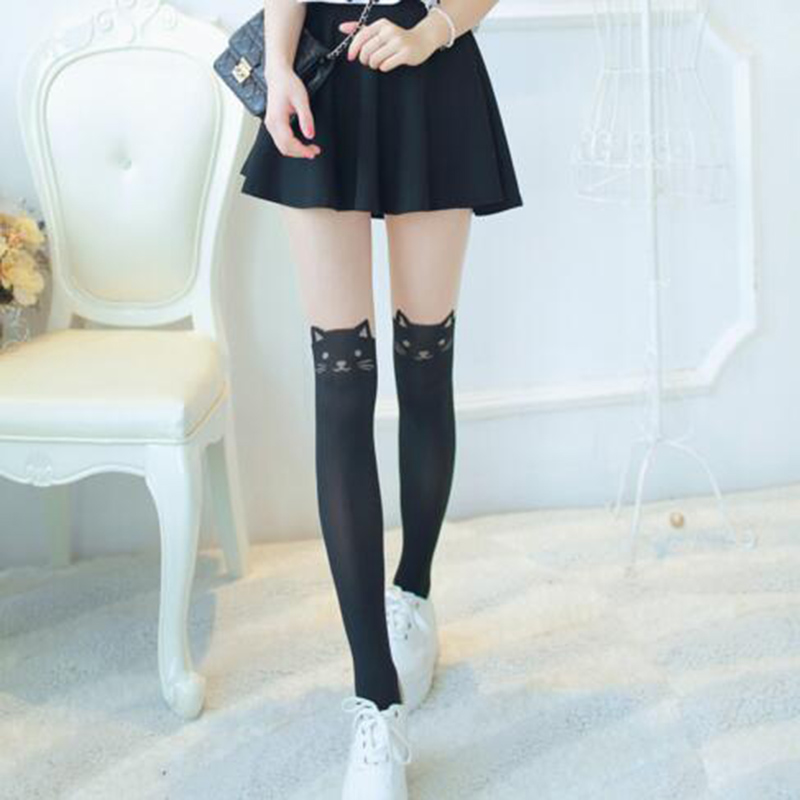 Buy Fashion Women Cat Tail Gipsy Mock Knee Black Beige Patchwork Tights High Hosiery Pantyhose Panty Hose Tattoo Tights Accessory