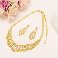 Rhinestone african Ethiopian Jewelry sets statement Necklaces Earrings Accessories Bridal Decorations wedding Jewellery sets