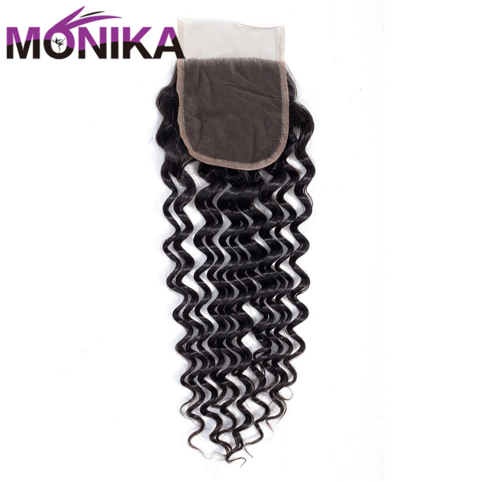 Monika Hair Indian Hair Closure Deep Wave 4*4 Lace Closure Natural Color 8-22 Human Hair Lace Closure Non Remy Hair