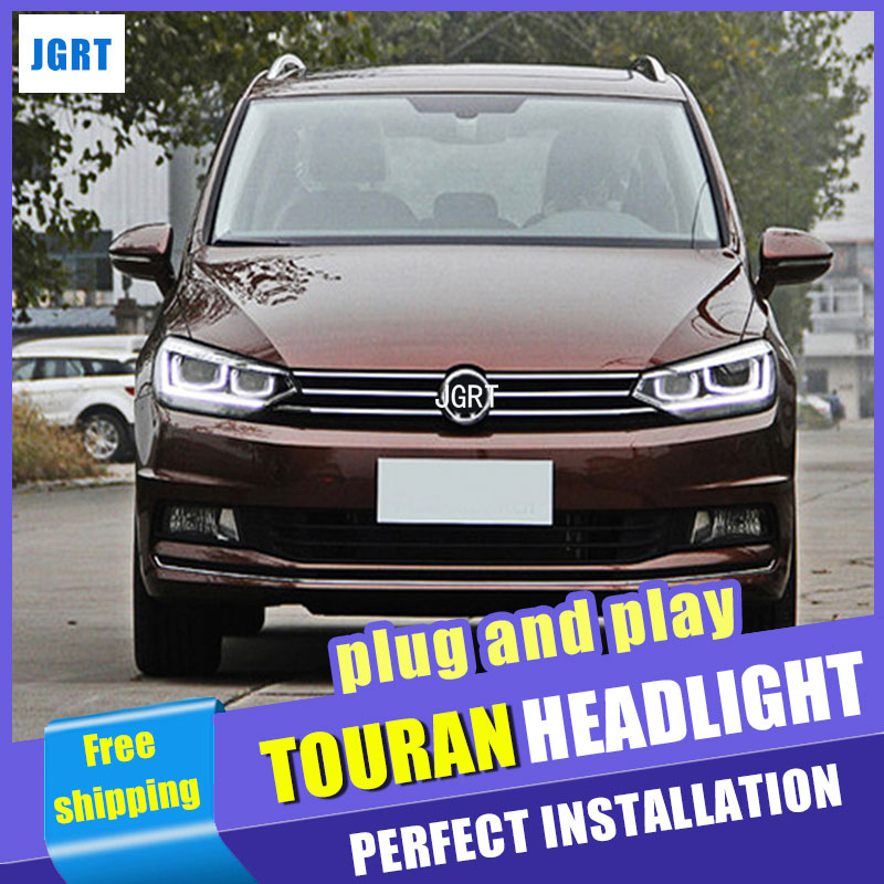 Car Styling Headlight assembly 2016-2017 for Volkswagen Touran DoubleU Angel Eye LED DRL Lens Double Beam H7 with hid kit 2pcs hireno headlamp for 2003 2009 toyota land cruiser prado headlight assembly led drl angel lens double beam hid xenon 2pcs