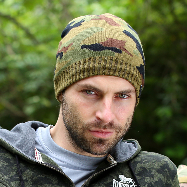 30f1798f20e 2015 New Mens Winter Hat Men Camouflage Skiing Beanies Warm Knitted Beanie  Wool Caps Fleece Hats Bonnet Gorros Invierno