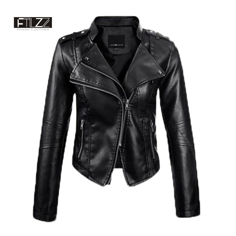 2018 Women Cheap   Leather   Jacket Spring Slim Zipper Biker Jacket Ladies Autumn Black Rivet Moto Pvs Coats Faux   Leather   Jacket