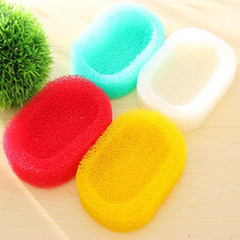 Bathroom Kitchen Creative Mesh Sponge Soap Box Holders Dish Tray Random Color #MS064