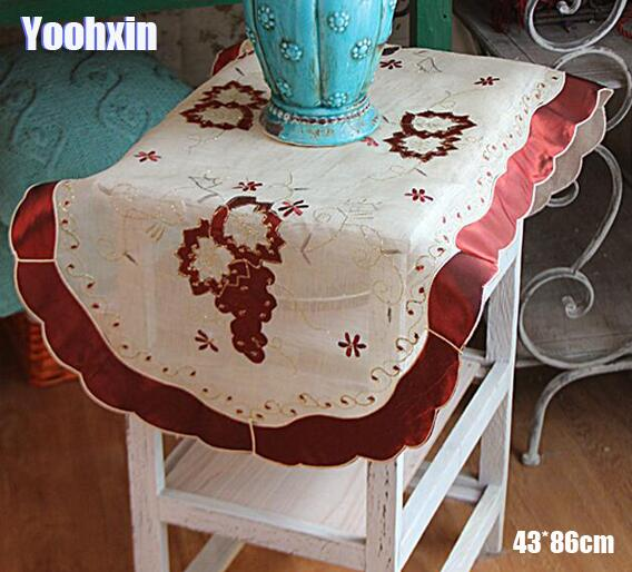 Oval Coffee Table Runner: HOT Oval Lace Embroidery Bed Table Runner Flag Cloth Cover