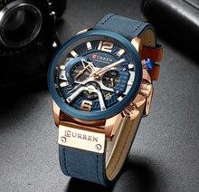 Curren esporte casual relógios para homens azul marca superior luxo militar relógio de pulso couro homem moda cronógrafo relógio de pulso