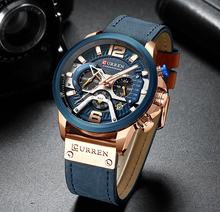Curren relojes deportivos informales para hombre reloj de pulsera de cuero militar de lujo de marca azul reloj de pulsera de cronógrafo de moda para hombre esfera de segundos minutos