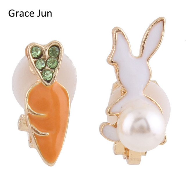 Grace Jun Tm Hot Carrot White Rabbit Clip On Earring Without Piercing For