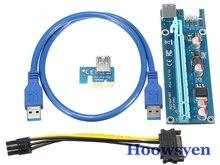Добыча стояк pci-e ЭКСПРЕСС riser card 1X к 16X + USB 3.0 Удлинительный кабель sata 15Pin-6Pin Мощность кабель 60 см Для Bitcoin чехол 5 шт.