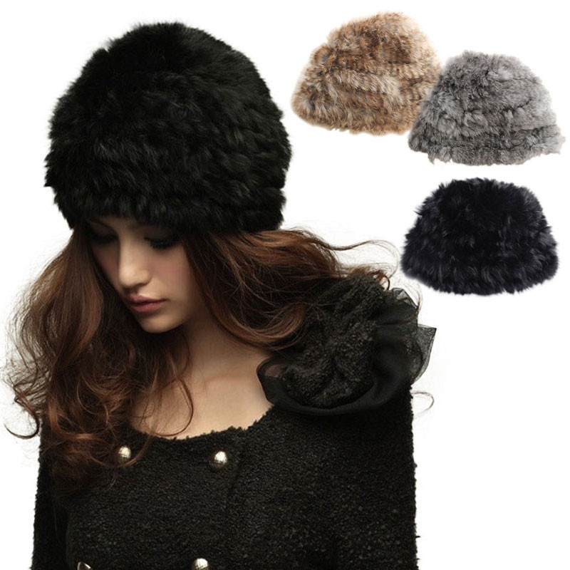 2016 Womens Genuine Rabbit Fur Winter Hat Nature Rabbit Fur Cap Beanies Warm Bonnet Women Headgear Headdress For Ladies Girls