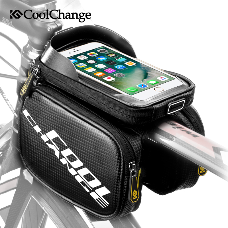CoolChange Bike Bag Rainproof Touch Screen Bicycle Frame Front Head Bag Top Tube Double Pouch Cycling For 6.0 6.2 Inch Accessory boodun bd b04 bicycle bike top tube double bag black