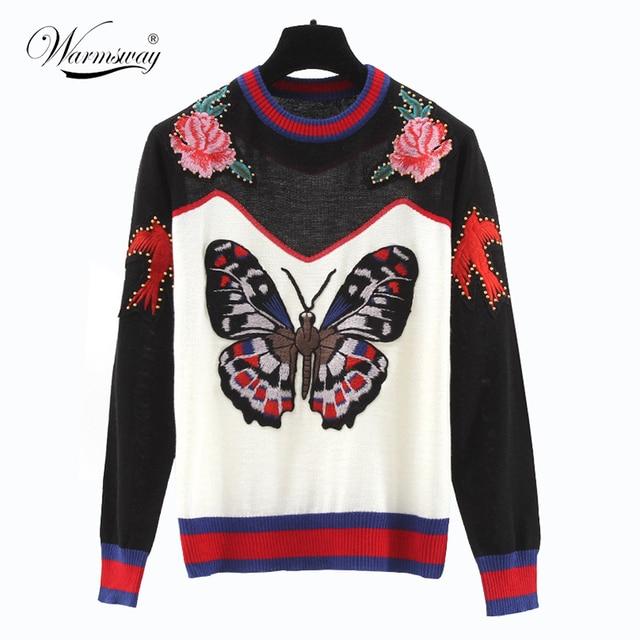 Высокое качество женщины осень мода бабочка ласточка вырос вышивка Свитера трикотаж теплая зима вязание pullowers накидки WS-124