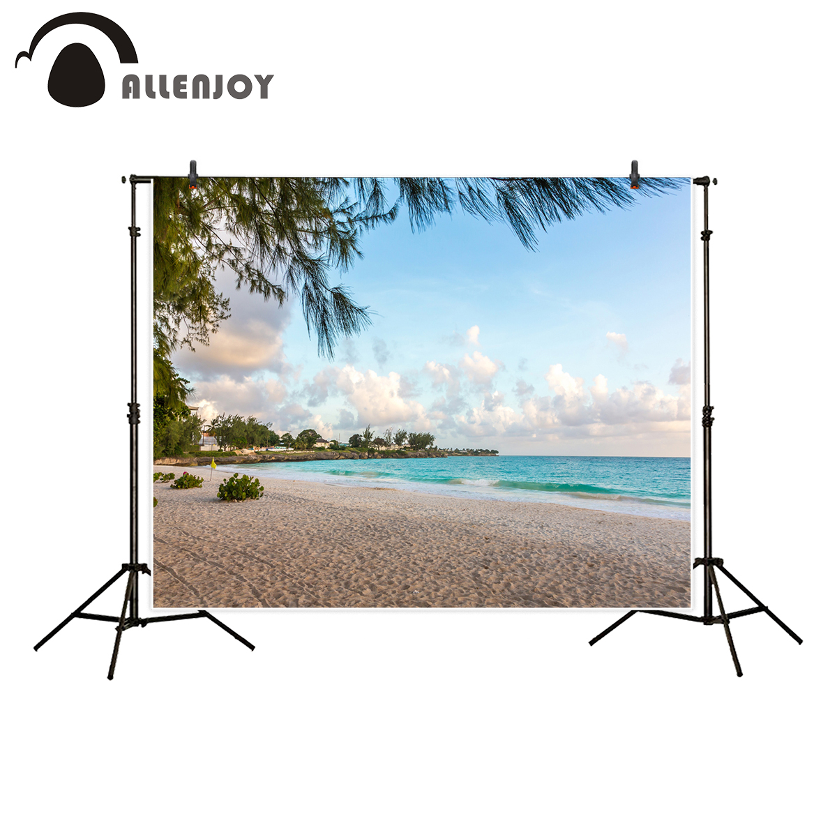 Allenjoy backgrounds for photography studio beautiful tropical island beach blue water clean sand spring backdrop photocall
