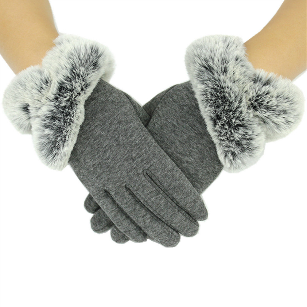 Fashion Womens Winter Warm Cotton Gloves Thick Thermal Lined Windproof Touch Screen Mittens Driving Skiing Solid Color