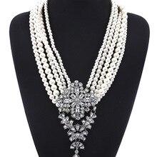 Модные многослойные белый жемчуг с горный хрусталь кулон Цепочки и ожерелья украшения для Для женщин макси заявление Цепочки и ожерелья богемный Цепочки и ожерелья