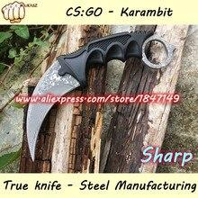 MUKASZ 100% true Damascus CS Counter Strike Black Karambit Knife Neck Knife with Sheath Tiger Fade Tooth Real game Factory SZ-A1