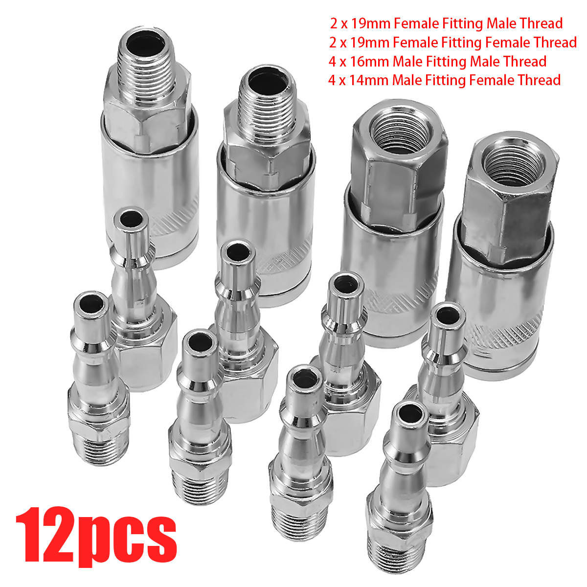 12Pcs 1/4 BSP Air Line Hose Compressor Fitting Couplings Connector Quick Release Male Female Fittings Connector Set bsp female air compressor pneumatic quick coupler connector socket fittings set