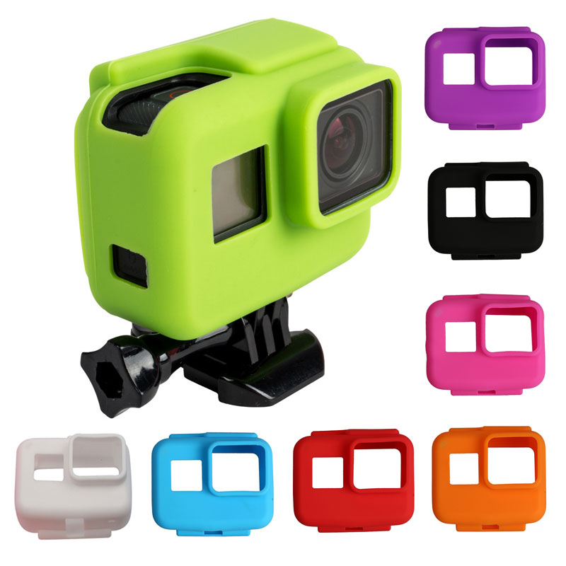 Colorful Soft Silicone Rubber Frame Protective Case for GoPro Hero 5 6 7 Black Protective Cover for Go Pro 5 Camera Accessories jinserta black plastic lens cap cover for gopro hero 6 black edition camera go pro 6 5 accessories protector case