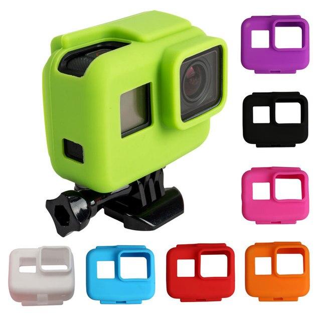 Quadro colorido Suave Borracha de Silicone Capa Protetora para GoPro Hero 5 6 7 Preto Capa Protetora para Go Pro 5 acessórios da câmera