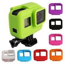 Renkli yumuşak silikon kauçuk çerçeve koruyucu kılıf GoPro Hero 5 için 6 7 siyah koruyucu kapak git Pro 5 kamera aksesuarları