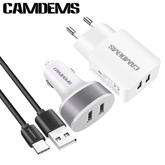 Camdems Eu Wall Charger Adapter Car Usb Data Sync Type C Cable For Huawei P9 Xiaomi Mi4c Oneplus 2 3 Lg G5 Zuk Z2