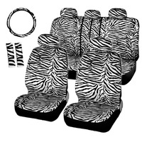 Brand New Short Plush Fabric Zebra Seat Covers Universal Fit Most Car Seats Steering Wheel Cover Shoulder Pad White Seat Cover