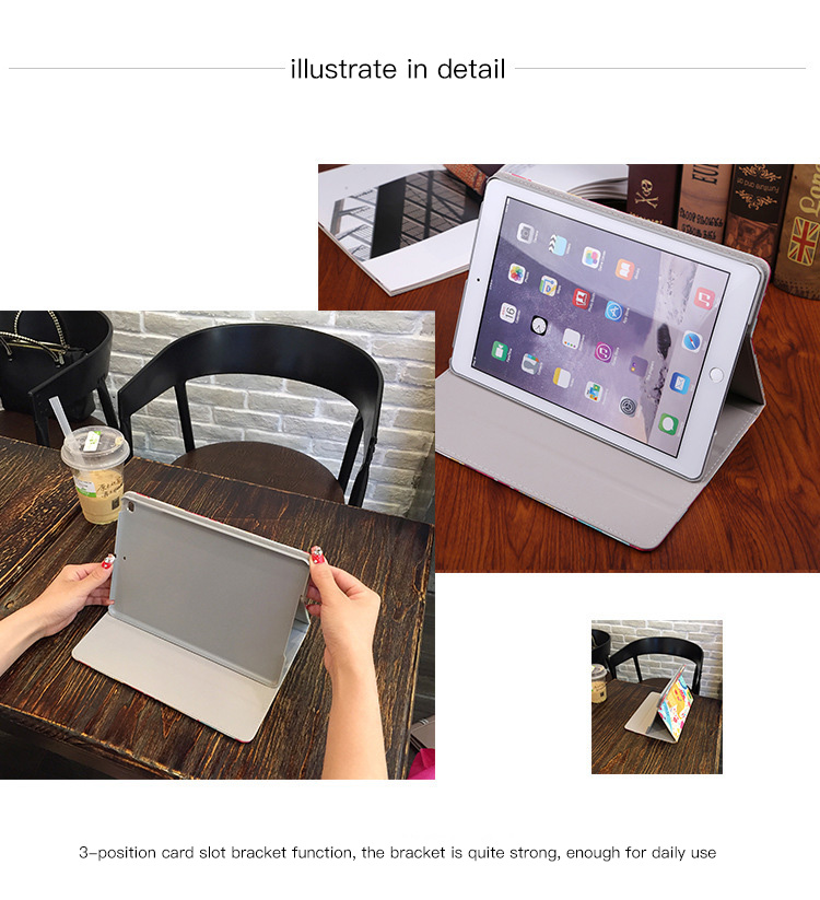 For tablet Apple iPad 9 7 2017 2018 Case Fashion Tablet PU Leather Flip Stand Smart Wake Sleep Cases Painted Cover Funda Shell in Tablets e Books Case from Computer Office