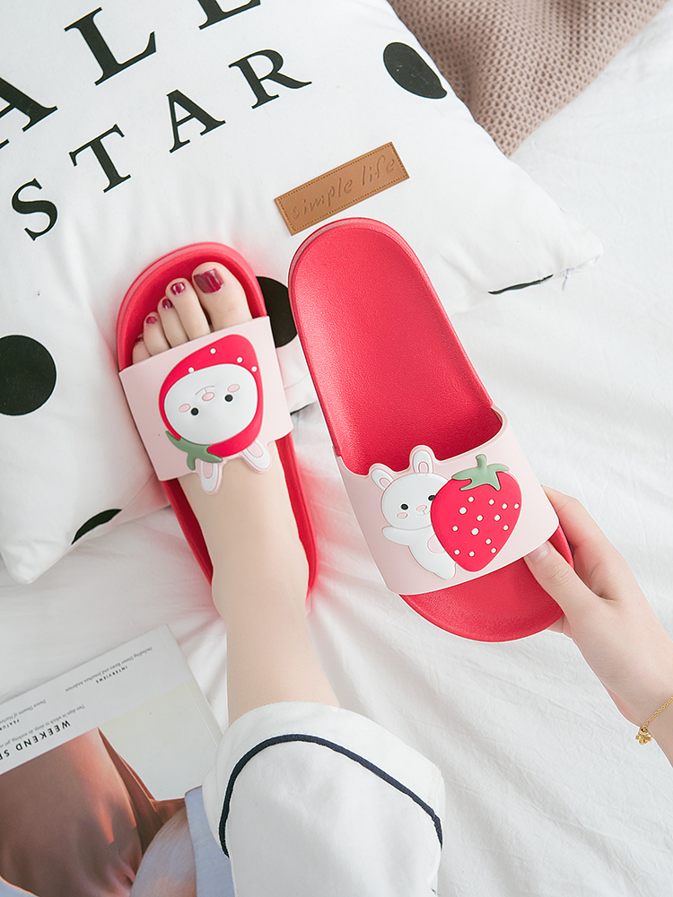 Cartoon Bear Rabbit Slides Women Summer Slippers Fruits Strawberry Banana Panda Home Slippers Sandals Women Shoes Flip Flops 2