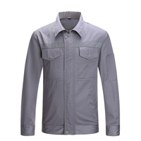 Grey Work Wear Work Jacket With Reflective Stripes Men's Coat Working Uniform