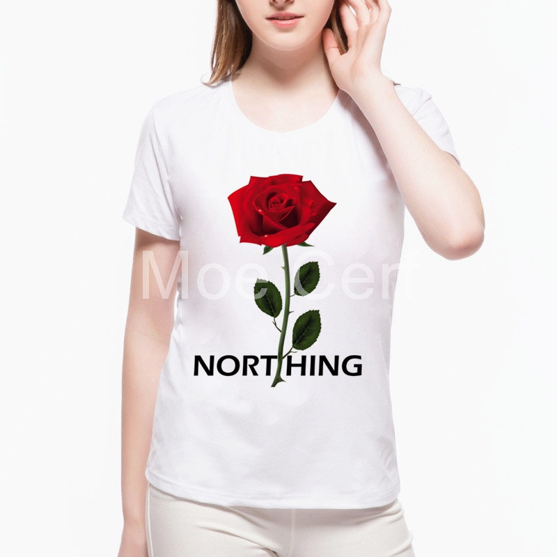 2017 Nothing Letter Printed T Shirt Kawaii Rose T Shirt Summer Hipster Short Sleeve Tops Female