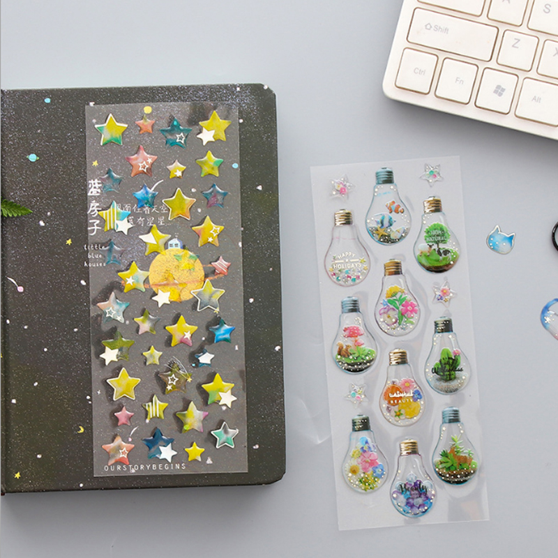1X Transparent 3d Cell Phone Stickers Cartoon Mini PVC Stickers Decoration DIY Diary Scrapbooking Label Sticker Stationery