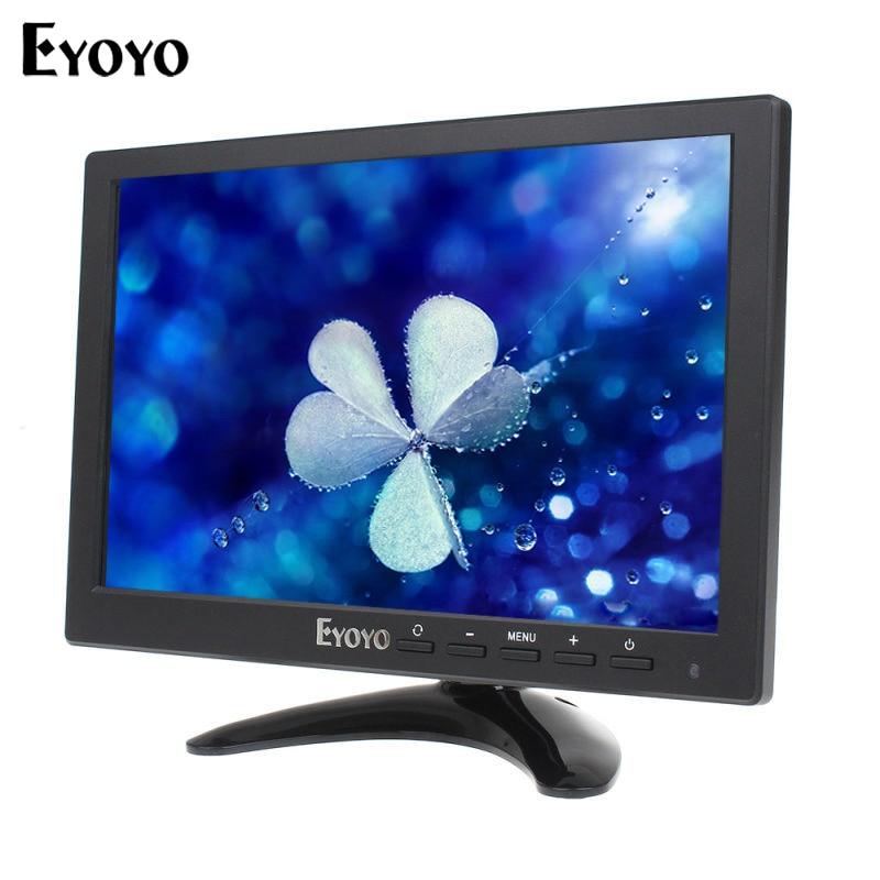 Eyoyo 10 Inch IPS High Resolution VGA Video HDMl HD Monitor BNC Display for Security CCTV Camera DVD PC Gaming
